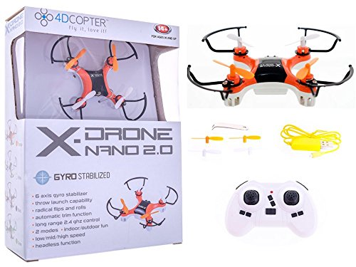 4DCopter Fly it , Love it! - X-Drone Nano 2.0 Aerial Drone Quadcopter Radio Controlled RC Flyer Quad Copter Helicopter - Size: Nano (2in x 2in x1in), Orange (Remote Controlled Quad Copter compare prices)