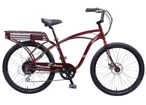 IZIP E3 Zuma Mens Beach Cruiser Electric Bicycle - Cantilever Frame Large - Burgundy