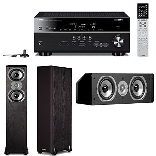Yamaha Rx-V677 7.2-Channel Wi-Fi Network Av Receiver Plus A Pair Of Polk Audio Tsi 300 Tower Speakers & A Cs10 Center Channel Speaker