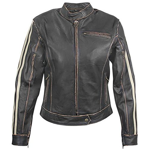 Xelement BXU-100530 Vintage Womens Dark Brown Leather Jacket - 3X-Large 1