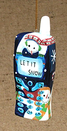 "Let It Snow Snowman Patterned Cell Phone Christmas Ornament 4"" #W6773"