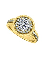 Cubic Zirconia Halo Engagement Ring In Yellow Gold Plated Vermeil With Interesting Design And Fab Price