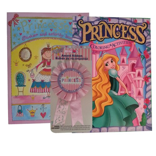 Princess Fun Pack (Bundle of 3 Items: Princesses Sticker & Activity Book, Princess Coloring & Activity Book, & Princess Award Ribbon