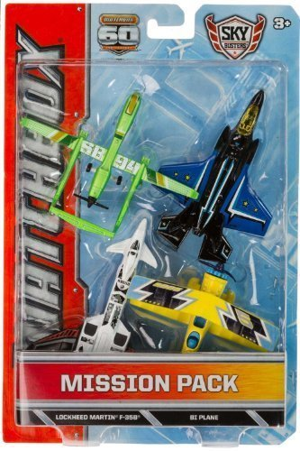 twin-blast-lockheed-martin-f-35b-bi-plane-sb94-drone-die-cast-vehicle-pack-matchbox-sky-busters-miss