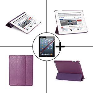 TeckNet® New Apple iPad 4, iPad 3 (with Retina Display), iPad 2 Leather Folio Case - Front & Back Full Protection Smart Cover With Magnetic Auto Wake & Sleep Function - Full Grade Leather (PU) with Micro Fibre Inner Cloth - Included Screen Protector and Stylus Pen - Purple