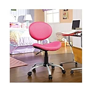 swivel pink mesh desk office girls teen bedroom chair