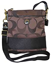 Hot Sale Coach Signature Stripe Swingpack Crossbody Messenger Bag Purse 48069 Brown / Multi