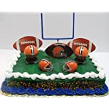 NFL Football Cleveland Browns Birthday Cake Topper Set Featuring Browns Helmets and Browns Decorative Pieces
