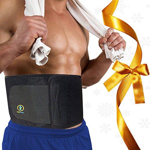 Just Fitter Premium Waist Trainer & Trimmer Ab Sweat Belt Per Uomo e Donna. Più completamente regolabile rispetto alle altre Cinture Sauna Dimagranti Addominali. Fornisce il Migliore Supporto per la Schiena e la Fascia Lombare. Risultati Garantiti. (Large: 1,29m la lunghezza x 0,25m la larghezza)