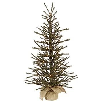 #!Cheap 4' Pre-Lit Vienna Twig Artificial Christmas Tree in Burlap Base - Clear Lights