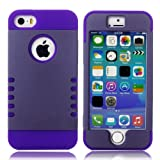 myLife (TM) Gray and Purple - Shield Armour Series (Neo Hypergrip Flex Gel) 3 Piece Case for iPhone 5/5S (5G)... by myLife Brand Products