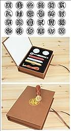 Initial Letter Vintage Alphabet Wax Badge Seal Stamp w/Wax Kit Set Letter A-Z Optional