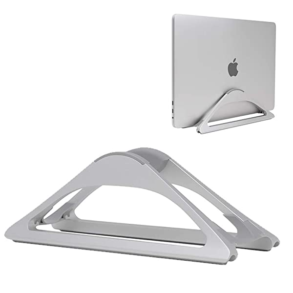 HumanCentric Vertical Laptop Stand for Desks (Silver)   Adjustable Holder to Dock Apple MacBook, MacBook Pro, and Other Laptops to Organize Work & Home Office (Color: Silver)