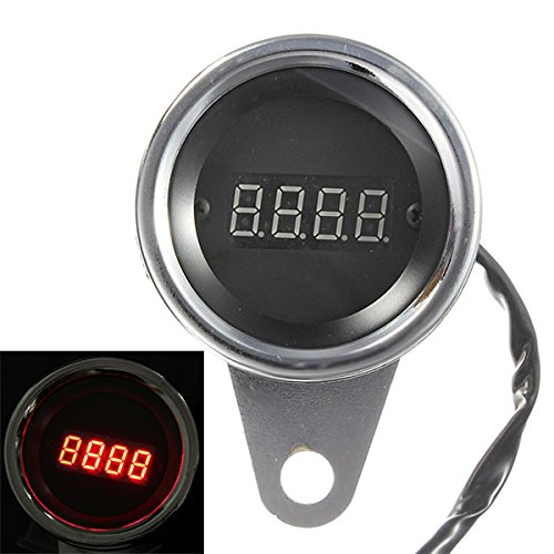 BephaMart Motorcycle Red LED Light Digital Tachometer Tacho Speedometer Gauge Shipped and Sold by BephaMart