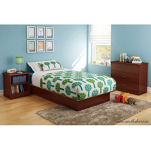 3 Pc Furniture Set Twin Platform Bed, 3-Drawer Dresser Chest, Night Stand Cherry Wood front-844986