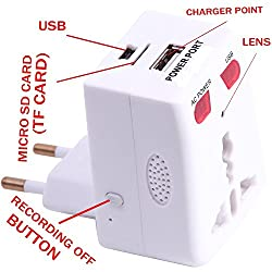Drongo Securities Hidden Spy Security Video Camera Surveille Dvr Travel Universal Ac Power Plug Adapter