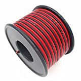 TYUMEN 18AWG 40 Feet Single Color LED Strip Extension Wire, 2 Core Red Black Cable Stranded Wires Conductor for Speakers / LED Ribbon Lamp / Tape Lighting [40FT per Plastic Spool]