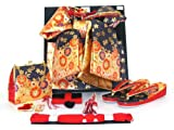 七五三 7歳用 段織りの結び帯(大寸)と箱セコペアセット【黒金】 Dan-BG