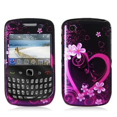 Purple Love Design Crystal Hard Skin Case Cover for Blackberry Curve 8520 8530 3G 9300 9330 Phone by Electromaster