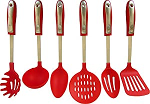6 Piece Nylon and Stainless Steel Cooking Kitchen Utensil Set