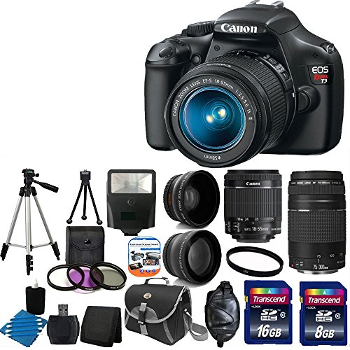 Canon Eos Rebel T3 12.2 Mp Cmos Digital Slr With 18-55Mm Is Ii Lens And Eos Hd Movie Mode With Canon Ef 75-300Mm F/4-5.6 Iii Telephoto Zoom Lens + 58Mm 2X Professional Lens +High Definition 58Mm Wide Angle Lens + Auto Flash + Uv Filter Kit With 24Gb Compl