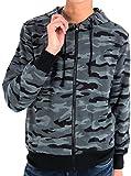 (マルカワジーンズパワージーンズバリュー) Marukawa JEANS POWER JEANS VALUE パーカー メンズ 長袖 フルジップ 無地 迷彩 ストリート 6color L ブラック