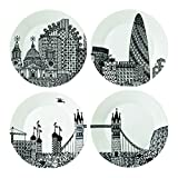 Royal Doulton Charlene Mullen Plates, 8.6-Inch, London City Scape, Set of 4