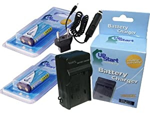 2x Pack - Samsung Digimax V50 Battery + Charger with Car & EU Adapters - Replacement for Samsung CR-V3 Digital Camera Battery and Charger (1300mAh, 3.3V, Lithium-Ion)