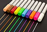 10 Pack Fluorescent Liquid Chalk Markers By Kassa - Child Safe (Non-Toxic) - 2 Tip Sizes (6 mm and 4 mm) Chalkboard Markers - Great for Chalkboards (Nonporous), Bistro Boards, Glass and Windows