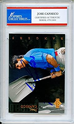 Jose Canseco Autographed Texas Rangers Encapsulated Trading Card - Certified Authentic