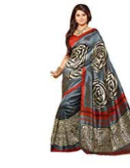 Inddus Exclusive Women Art Silk Printed Cream Saree