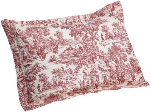 Victoria Park Toile Pillow Sham Standard Size, Red