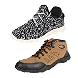 Earton COMBO Pack Of 2 Pair Men/Boys Multi & Brown Sports Shoes With Casual Shoes