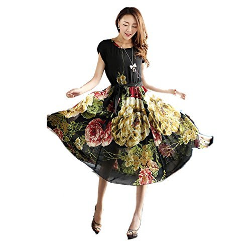 FOREVER YUNG Women's Bohemian Style Slim Fit Floral Print Short Sleeve Swing Dress Black XXL