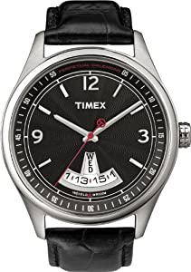 Timex Men's Stainless Steel Perpetual Calendar Quartz Day Date Black Dial Black Leather Strap T2N216