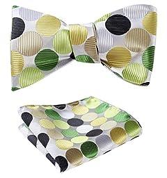 SetSense Men\'s Polka Dot Jacquard Woven Self Bow Tie Set One Size Green / Yellow / Brown