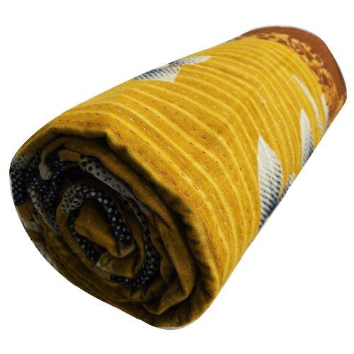 Amarillo Quilt Doble Mezcla Algodón Reversible Colcha Kantha Stitch Vintage Gudri India