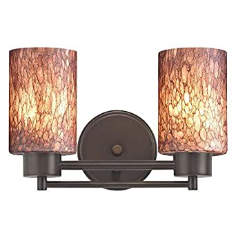 Modern bathroom light with brown art glass in neuvelle for Bathroom light fixtures amazon