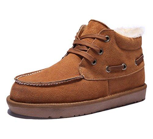 Brinny Classique Unisexe Adult Homme Dérapage Bottes De Neige Cuir Chaud Fourrure Short Boots Grand Taille Noir / Coffe / Bleu Foncé / Kaki Foncé 9 Taille: 39-47
