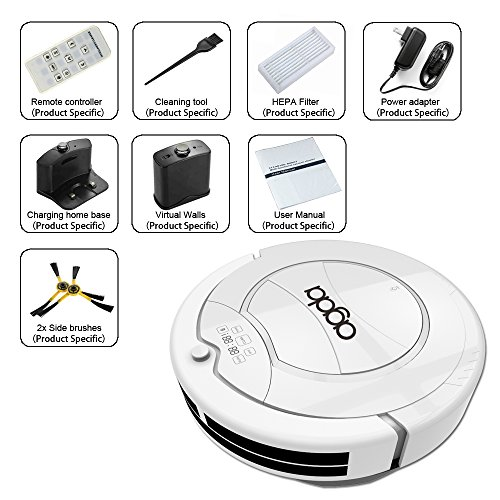 AGDA@ Robotic Vacuum Cleaner Robot Floor Cleaning for Pet Hair Dirt Dust and Hardwood Floors,with Self Charging and Auto-Detection (white) (Robot Wood Floor Cleaner compare prices)