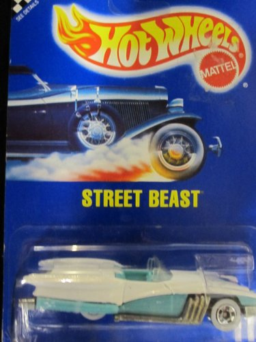 Street Beast Hot Wheels	1991 Speed Points #111	White & Turquoise with White Walls on Solid Blue Card