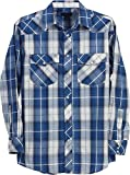 Studio 10 Mens Casual Western Plaid Checked Pearl Snap Long Sleeve Shirt, Blue White Plaid, Large