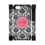 Monogram Personalized Damask Pattern Vs Rose Initials APPLE IPHONE 5 or 5S Best Durable PVC Cover Case