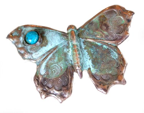 Verdigris Patina Solid Brass Butterfly Pin - Chrysocolla