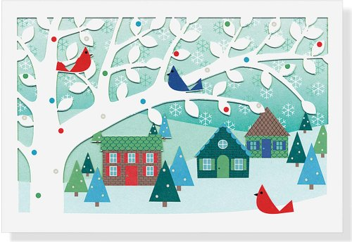 Village Birds Holiday Boxed Cards (Laser Cut Cards) (Christmas Cards, Holiday Cards, Greeting Cards)
