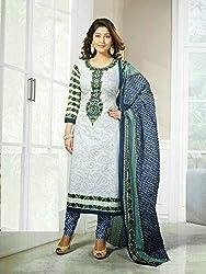 V-Kart Women's Cotton Unstitched Dress Material (Vkart_393_Blue_Free Size)