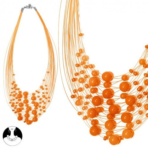 SG Paris Women Necklace Necklace 40cm+Ext Orange Plastic