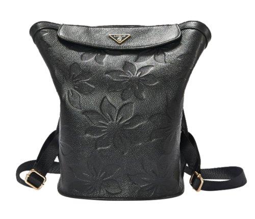 New Women'S Fashion Bucket Type Casual Good Cowhide Large Backpack Satchel Embossed Black