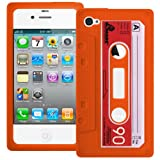 Orange Retro Xylo-Tape Cassette Silicone Cover / Skin / Case for the Apple iPhone 4 4G 4S.