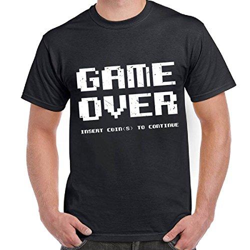 Maglia Uomo T-Shirt Scura Stampa Videogiochi Vintage Anni 80 Stampa Game Over, Colore: Nero, Taglia: XXL